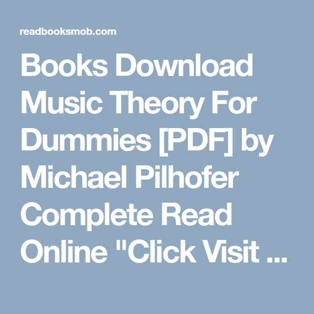Books Download Music Theory For Dummies Pdf By Michael Pilhofer
