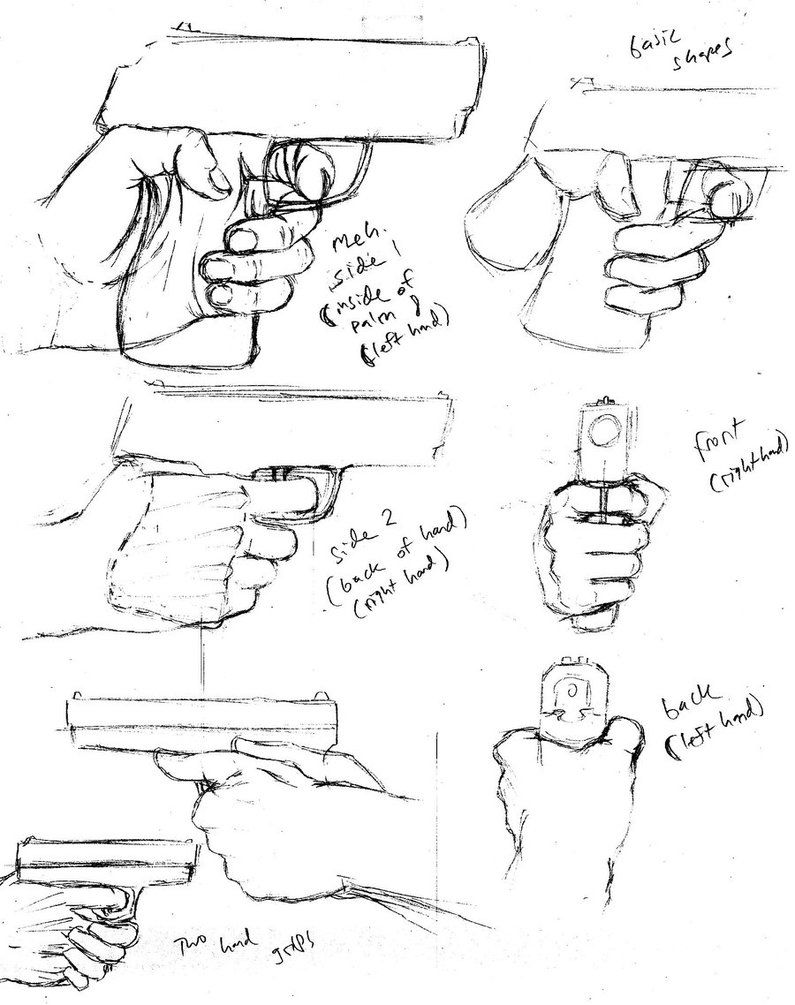 Hand Grip Drawing : drawing, Handgun, Drawing,, Drawing, Techniques,, Manga