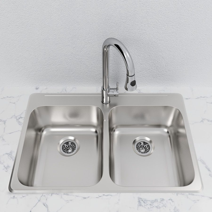 Ceco sinks kitchen sink - Cantrio Double Bowl 31 1 4 Stainless Steel Top Mount Kitchen Sink
