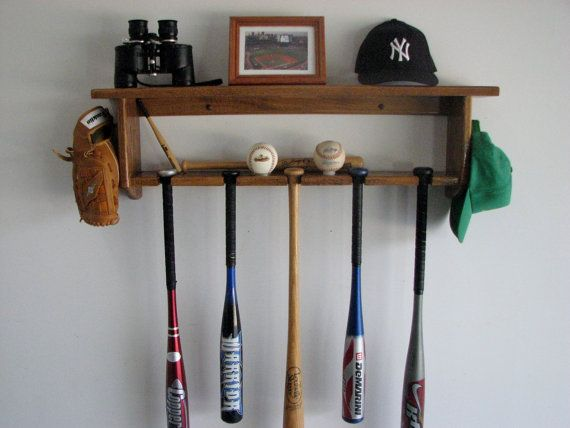 Decorative Oak Wall Shelf With Baseball Bat Rack Display 5 Bats Pictures Trophies