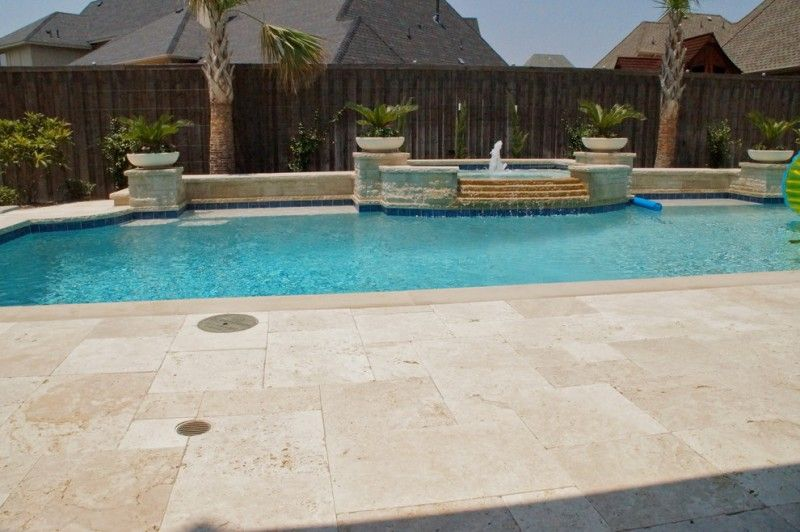Travertine Pavers Pool Deck Fountains Hot Tub Stone Walls Plant