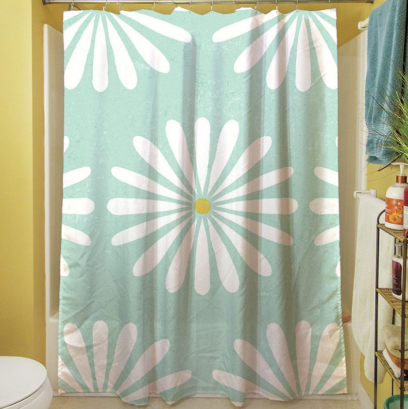 Jar Of Sunshine Vintage Daisy Single Shower Curtain Curtains
