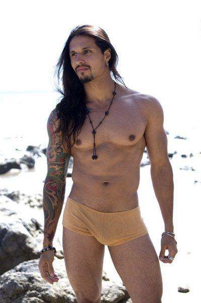 Men long hair skinny shirtless