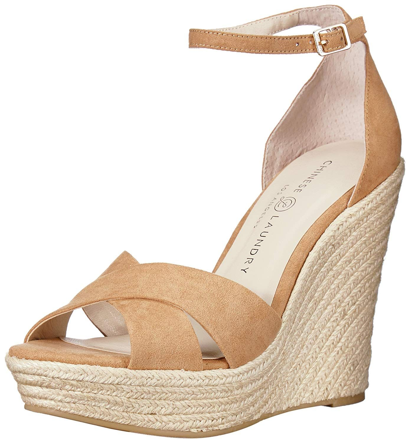 Chinese Laundry Women S Morgan Wedge Sandal Two Piece Peep Toe