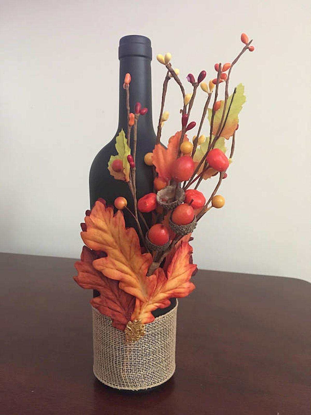 Diy For Thanksgiving Or Decorations Fall Wine Bottles Wine Bottle Diy Crafts Glass Bottle Crafts