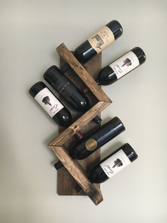 Zig Zag Wine Rack Z Geometric Rustic Wood Wall Mounted Wine