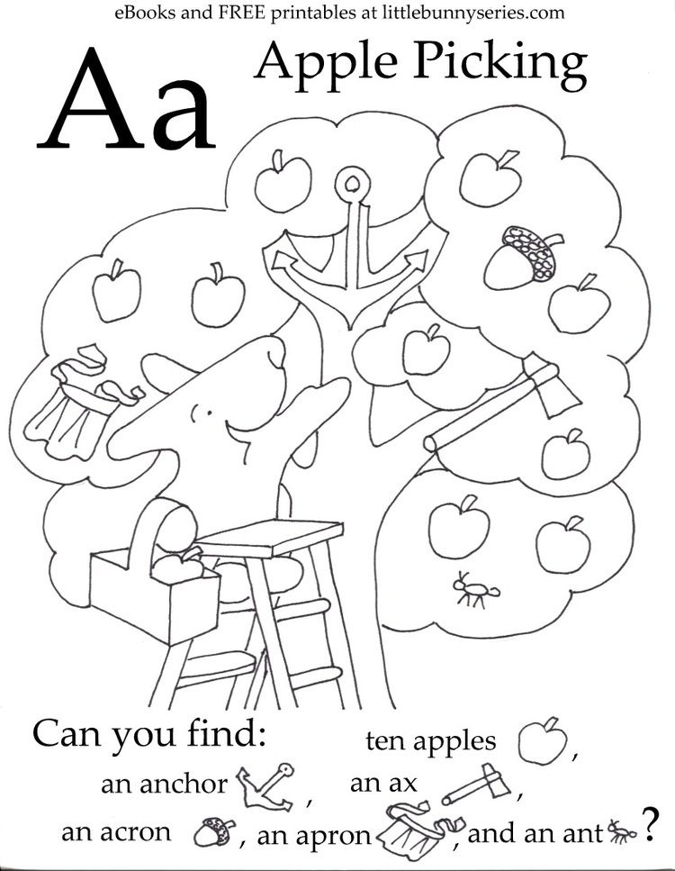 Letter A Seek and Find PDF Free preschool printables
