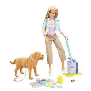 Pooper Scooper Barbie. Barbie's dog Tanner eats dog biscuits and poops 'em out. Barbie scoops 'em up and puts them in garbage can.