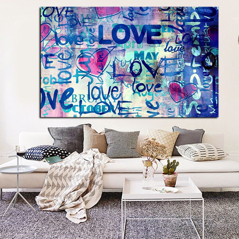Hd print banksy street art graffiti love quotes abstract oil painting on canvas pop art wall pictures for living room cuadros in painting calligraphy from