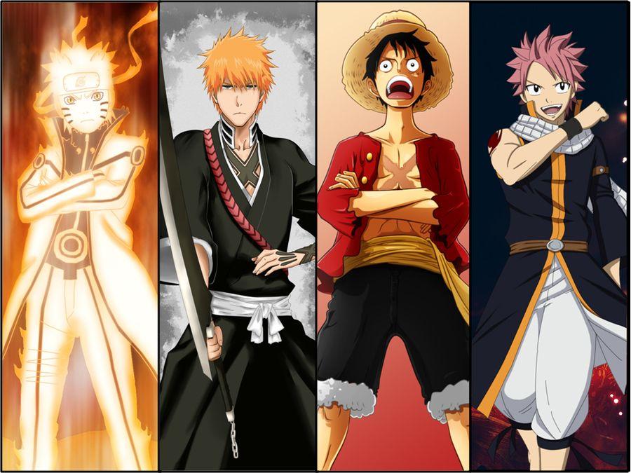Naruto Luffy Ichigo Natsu Vs These Guys Anime Anime Crossover Anime Movies