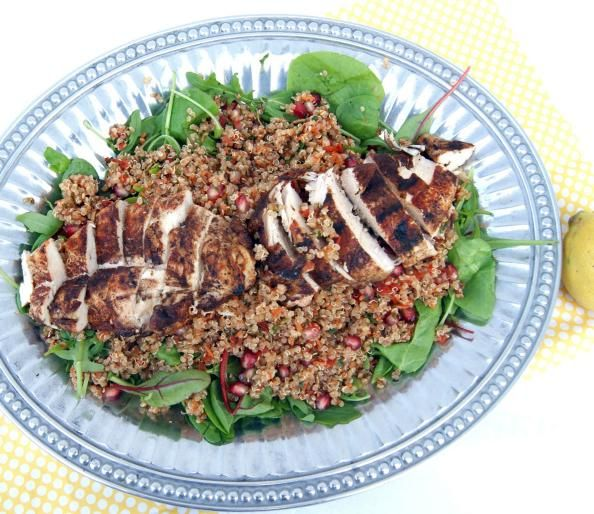Grilled Chicken and Quinoa Power Salad with Honey Citrus Dressing