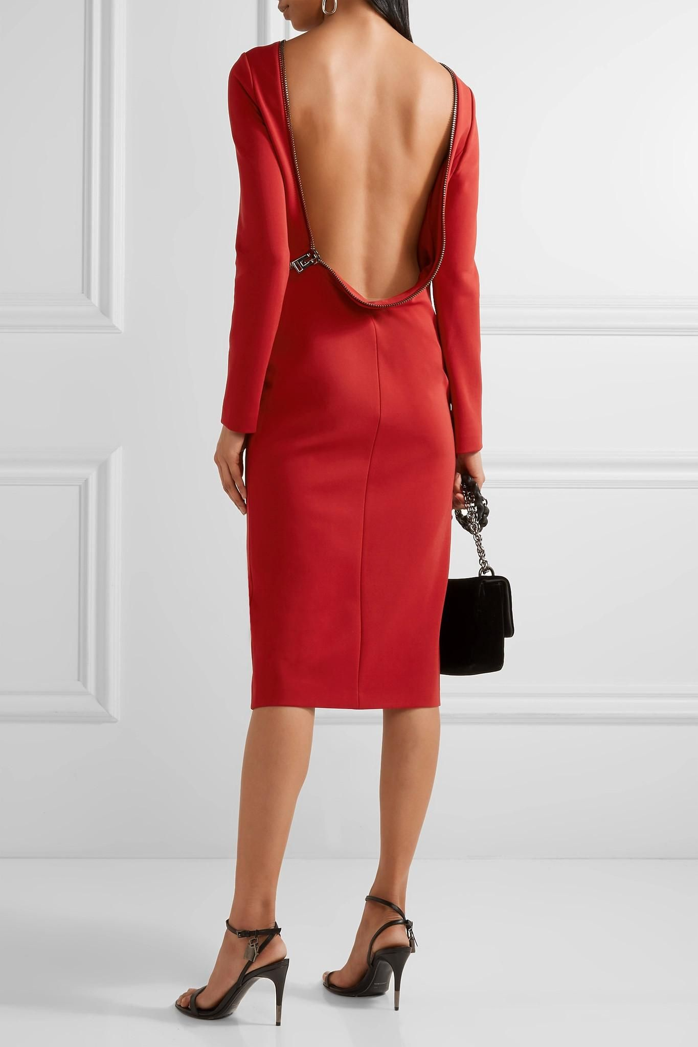 Tom Ford Open Back Zip Detailed Stretch Jersey Dress