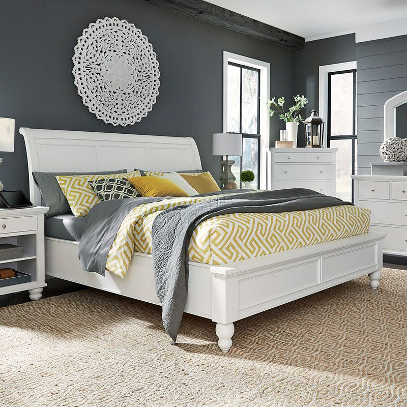 LAUREN BED IN VINTAGE WHITE. We brushed a lovely offwhite