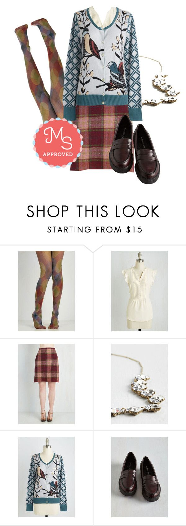 """""""Birds of Affection Cardigan"""" by modcloth ❤ liked on Polyvore featuring Madden Girl, outfit, modcloth and modstylist"""