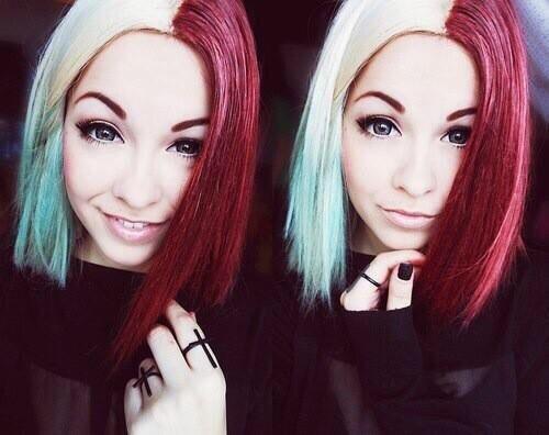 Half And Half Red And White Hair Half And Half Hair Alternative Hair Scene Hair