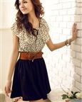 Qooeen Polka Dots Ruffle Sleeve Scoop Collar Lace up Pleated Thigh Length Women Dress