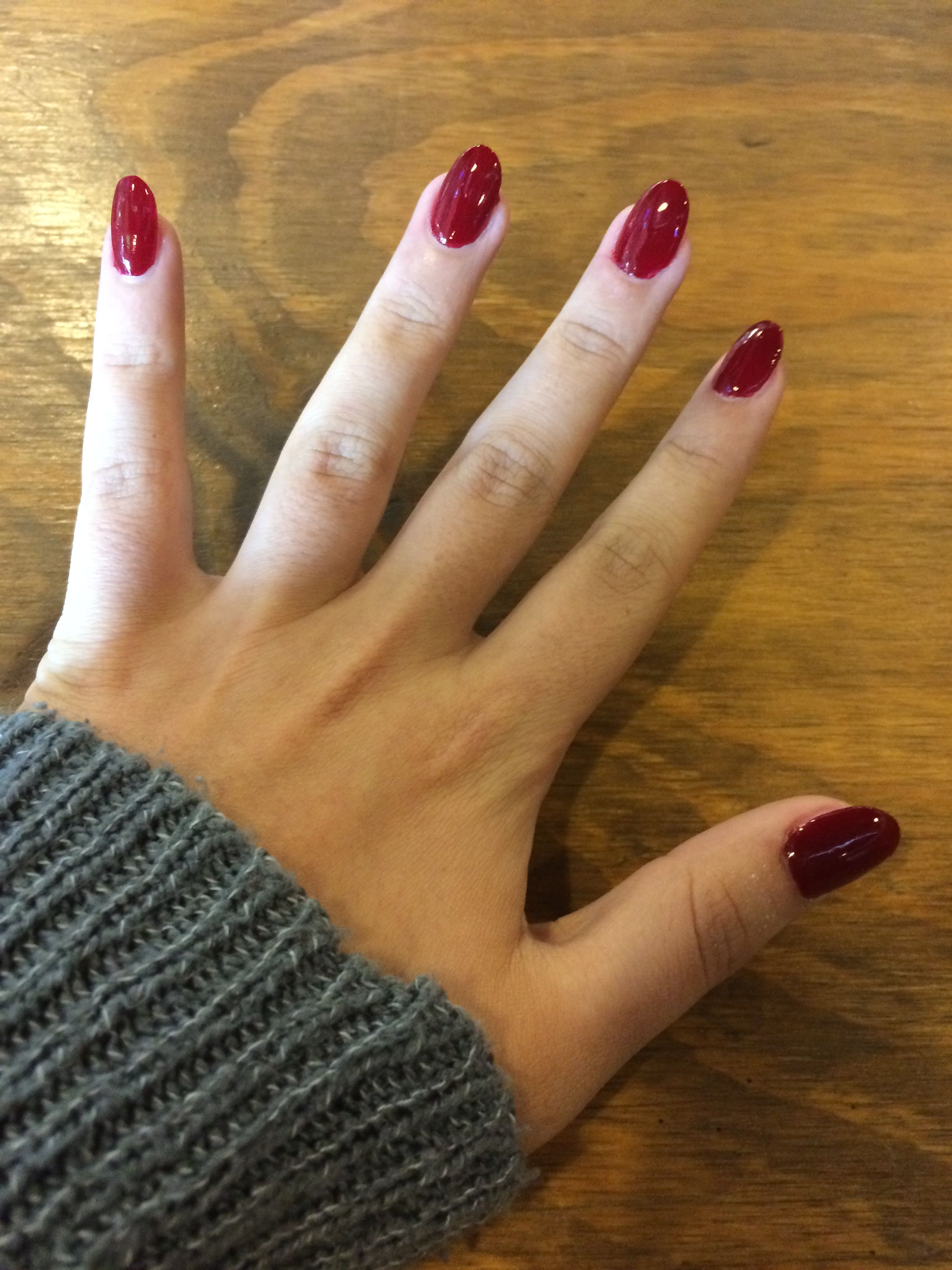 Deep Red Almond Shapes Nails Red Nails Deep Red Nails Short Red Nails