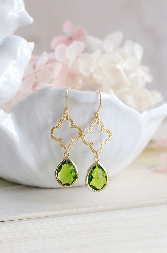 e267a7a39 Clover Earrings, Peridot Green Earrings, Shamrock Earrings, Gold Dangle  Earrings, Apple Green Drop Earrings, St. Patrick's Day Jewelry by LeChaim  on Etsy