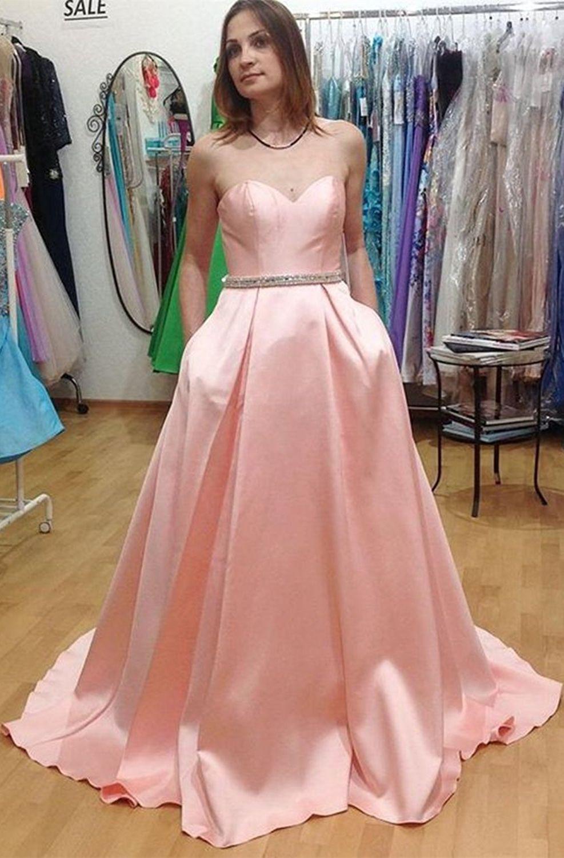 Aline sweetheart sweep train pink satin sleeveless prom dress with