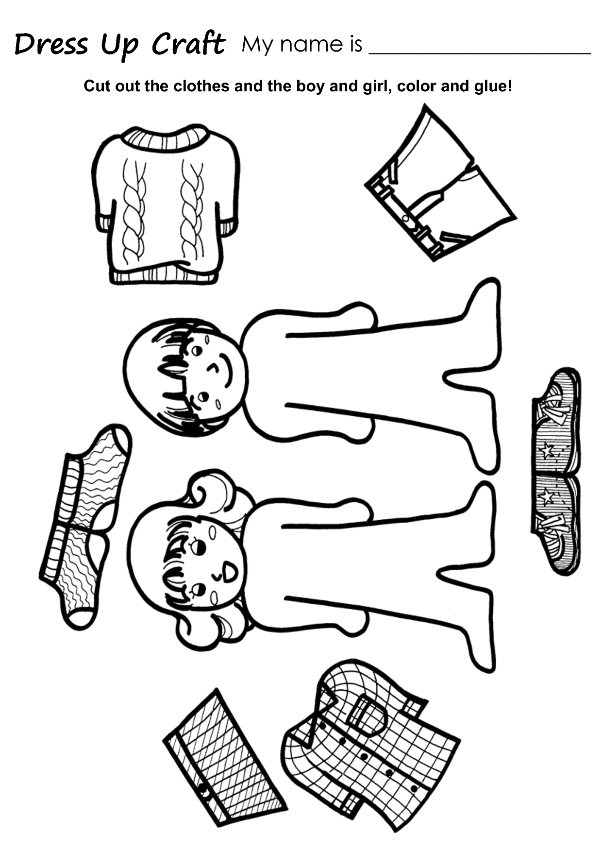 girl template cut out the clothes and the boy and girl color