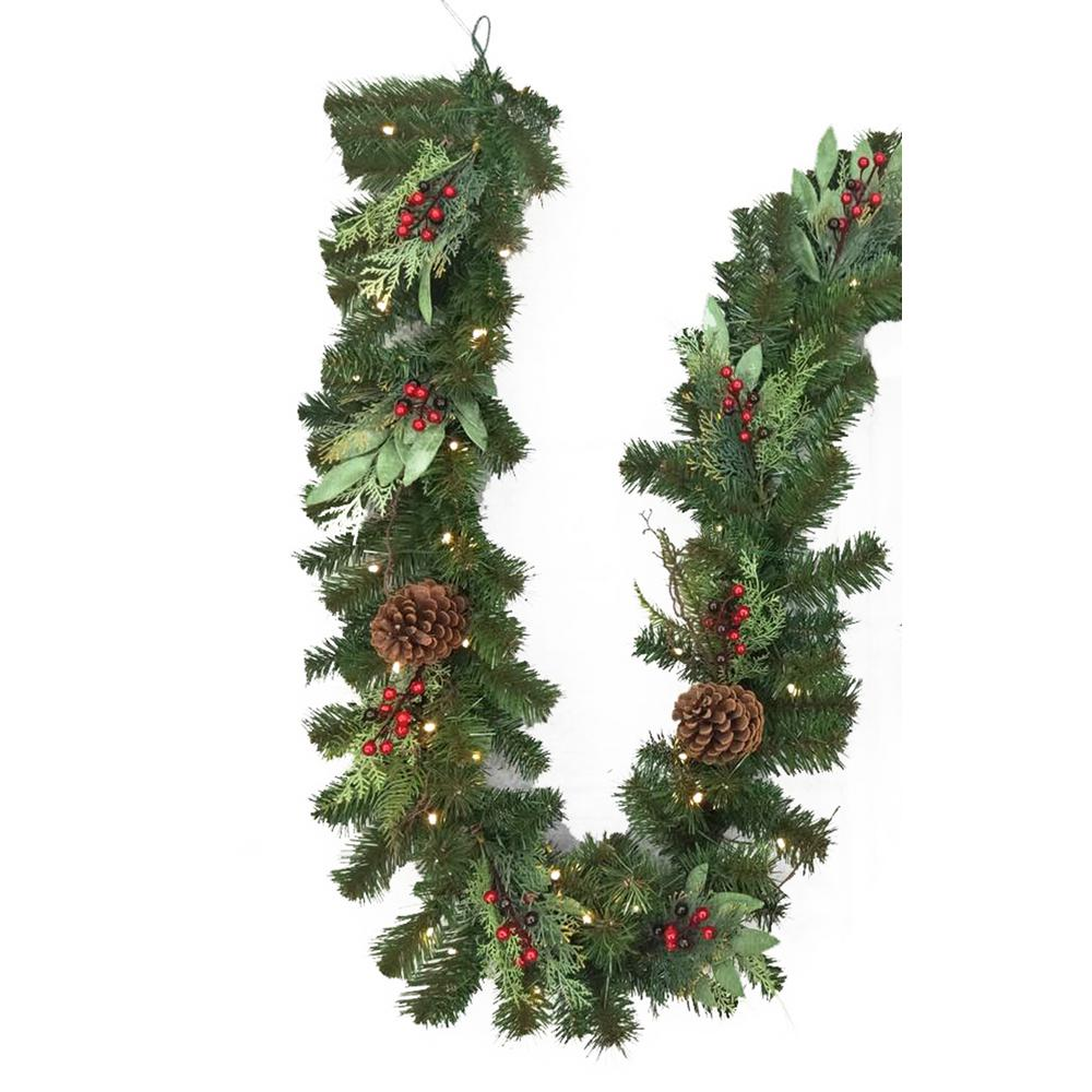 Home Accents Holiday 12 Ft Battery Operated Pre Lit Led Woodmoore Artificial Christmas Garla Artificial Christmas Garland Christmas Garland Christmas Greenery
