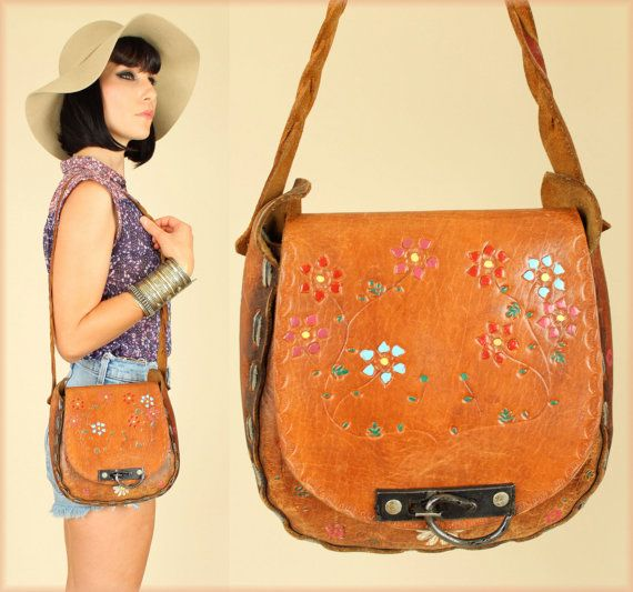 Multi-Colored Floral Light Brown HandTooled Leather Purse