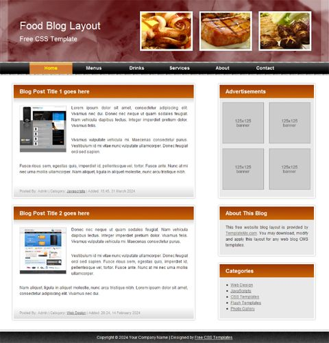 Blog Website Templates Freewebtemplatefoodblog 480×500  Blog Website Ideas