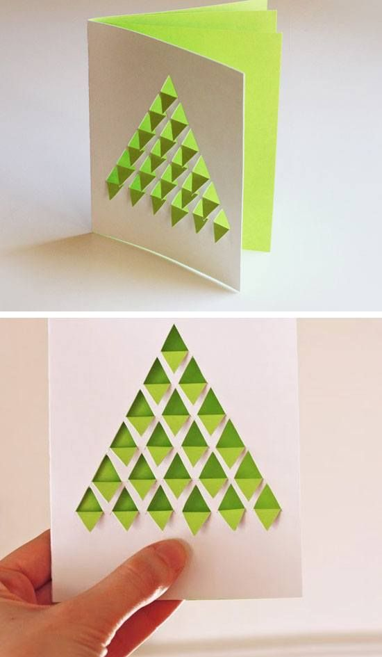 Good Christmas Cards To Make Ideas Part - 5: DIY Geometric Christmas Tree Card | Click For 20 DIY Christmas Card Ideas  For Families |
