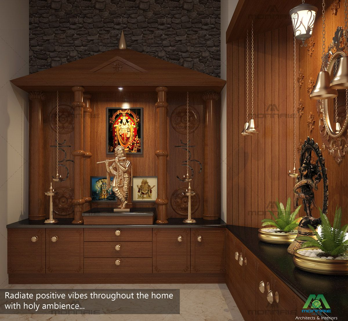 Interior Design For Kitchen In Kerala: Radiate Positive Vibes Throughout The Home With Holy Ambience... Visit : Www.monnaie.in Or Www
