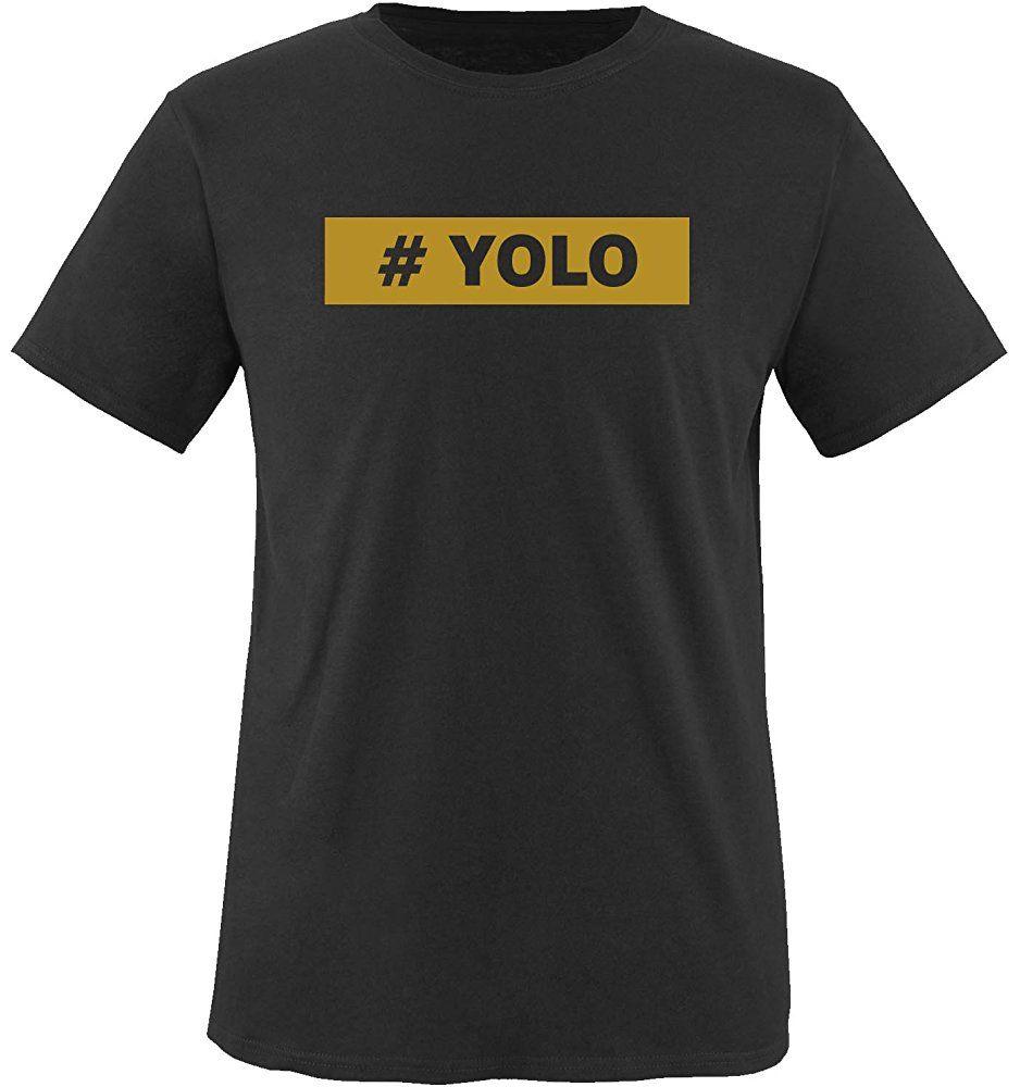 Comedy Shirts Men's Yolo TShirt M Black/Gold New