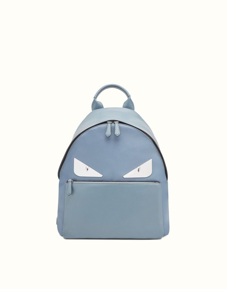 68f559111520 FENDI BACKPACK - Light blue nylon and leather backpack - view 1 detail