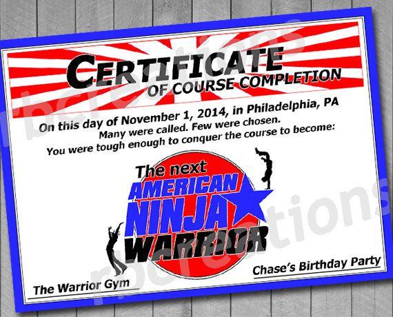 Certificate For American Ninja Warrior Digital By