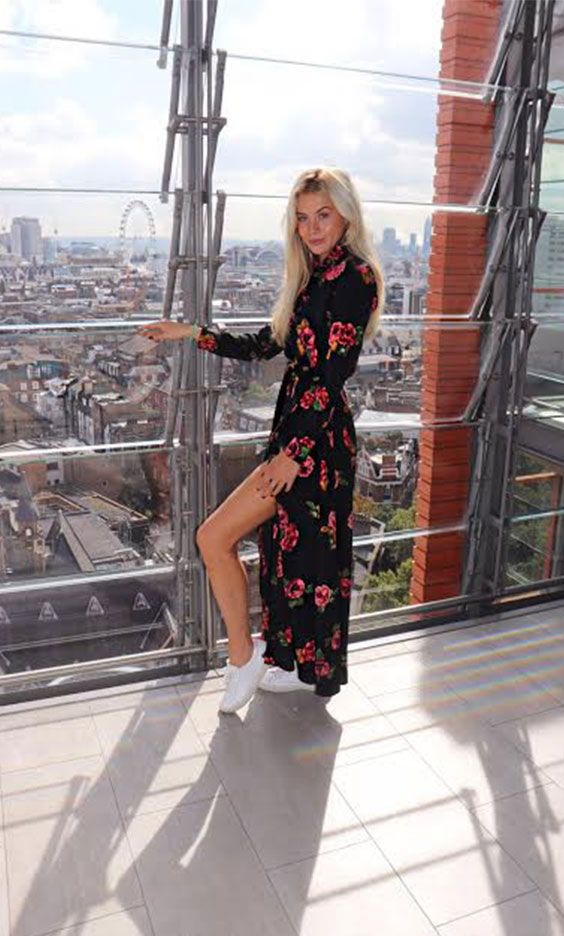 adcd4a06bd6 MIC's Frankie Gaff looking stunning in the SilkFred 'Maxi Shirt Dress In  Rose Print'......blogger, winter, autumn, outfit, inspo, date night,  wedding, ...