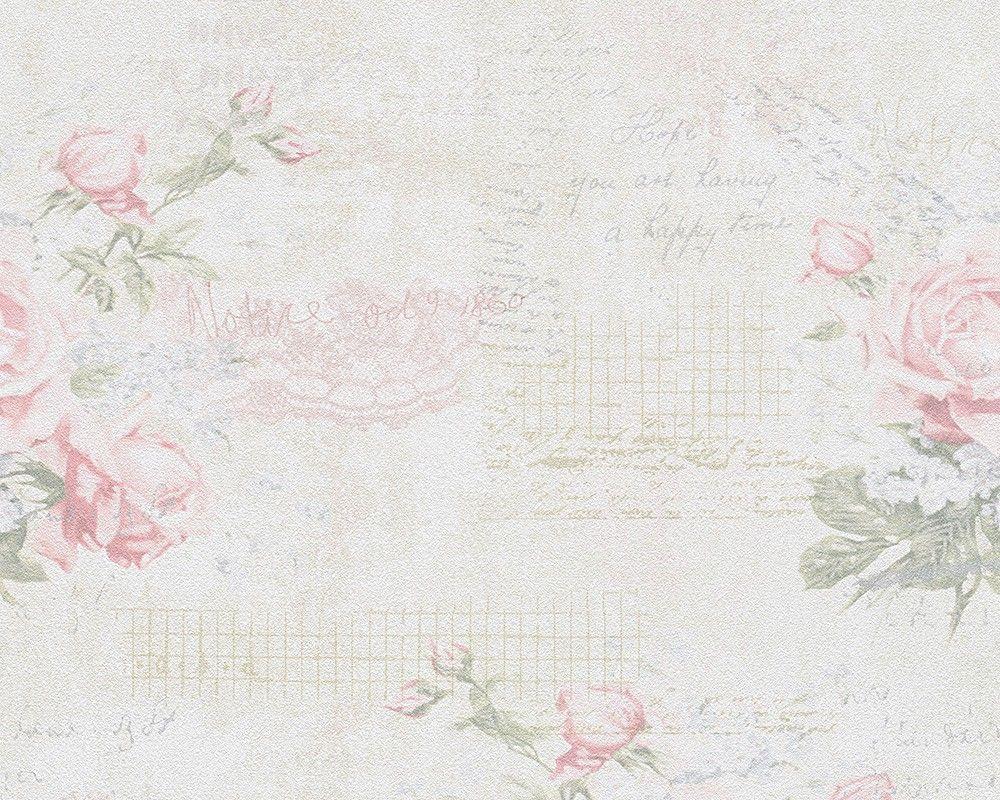 Tapete Landhaus Blumen Creme Rosa Grun Djooz 95667 1 Tapeten Tapete Blumen Shabby Chic Blumen