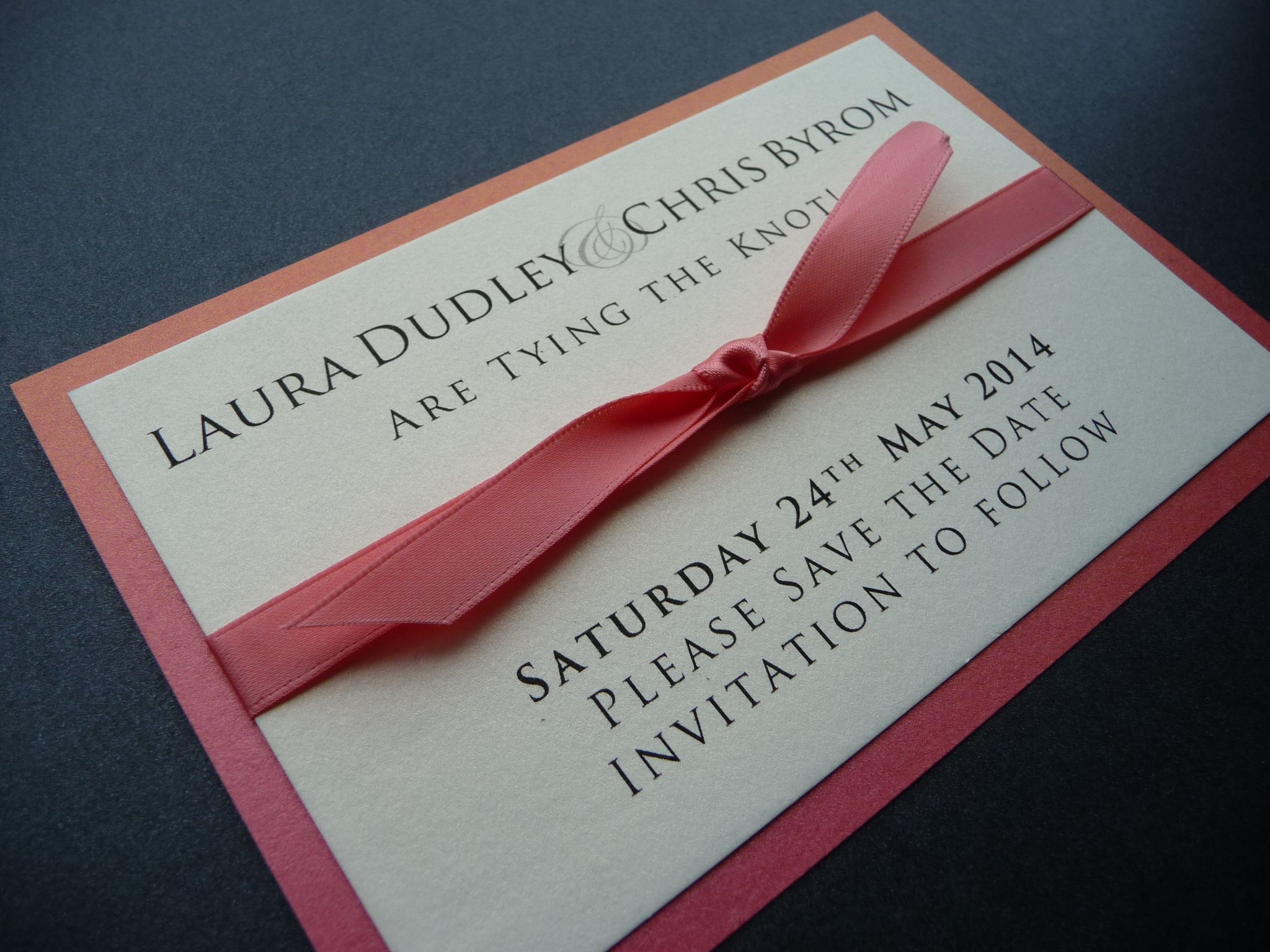 Coral and Ivory theme Wedding Save the Date Card \