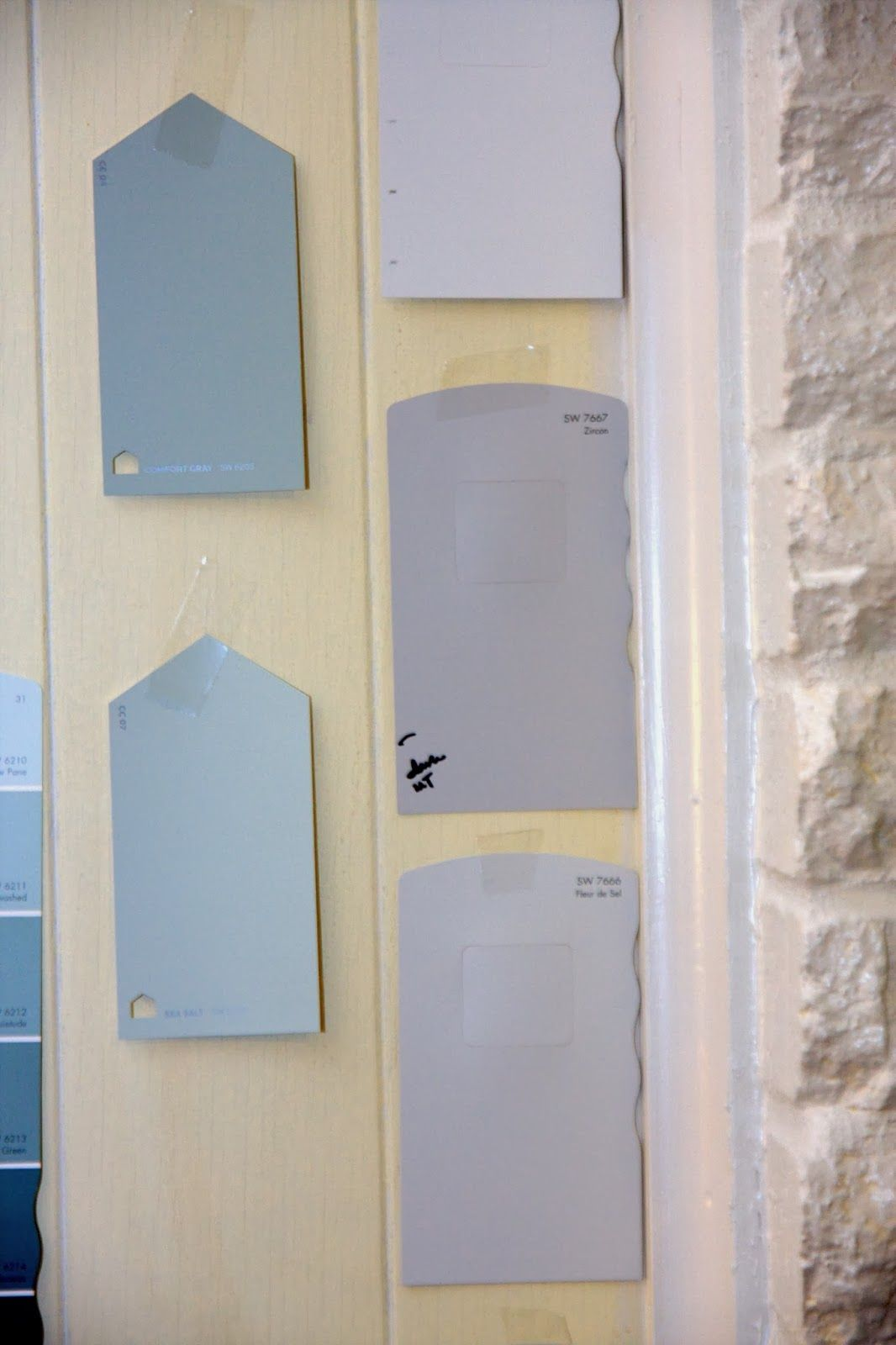 Choosing gray wall paint colors Sherwin Williams Zircon, Knitting Needles, Big Chill, Sea Salt, Comfort Gray