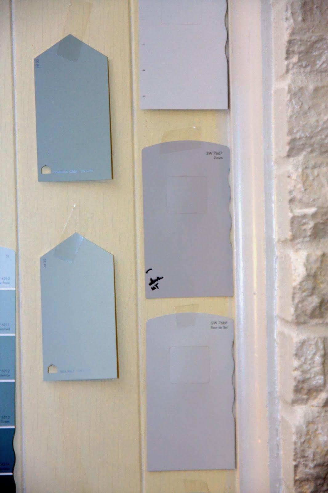 Choosing gray wall paint colors Sherwin Williams Zircon, Knitting Needles, Big Chill, Sea Salt, Comfort Gray