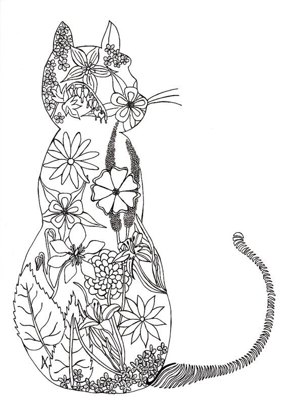 Adult colouring page de stress art therapy zen cat flowers garden digital picture to - Chat a colorier adulte ...