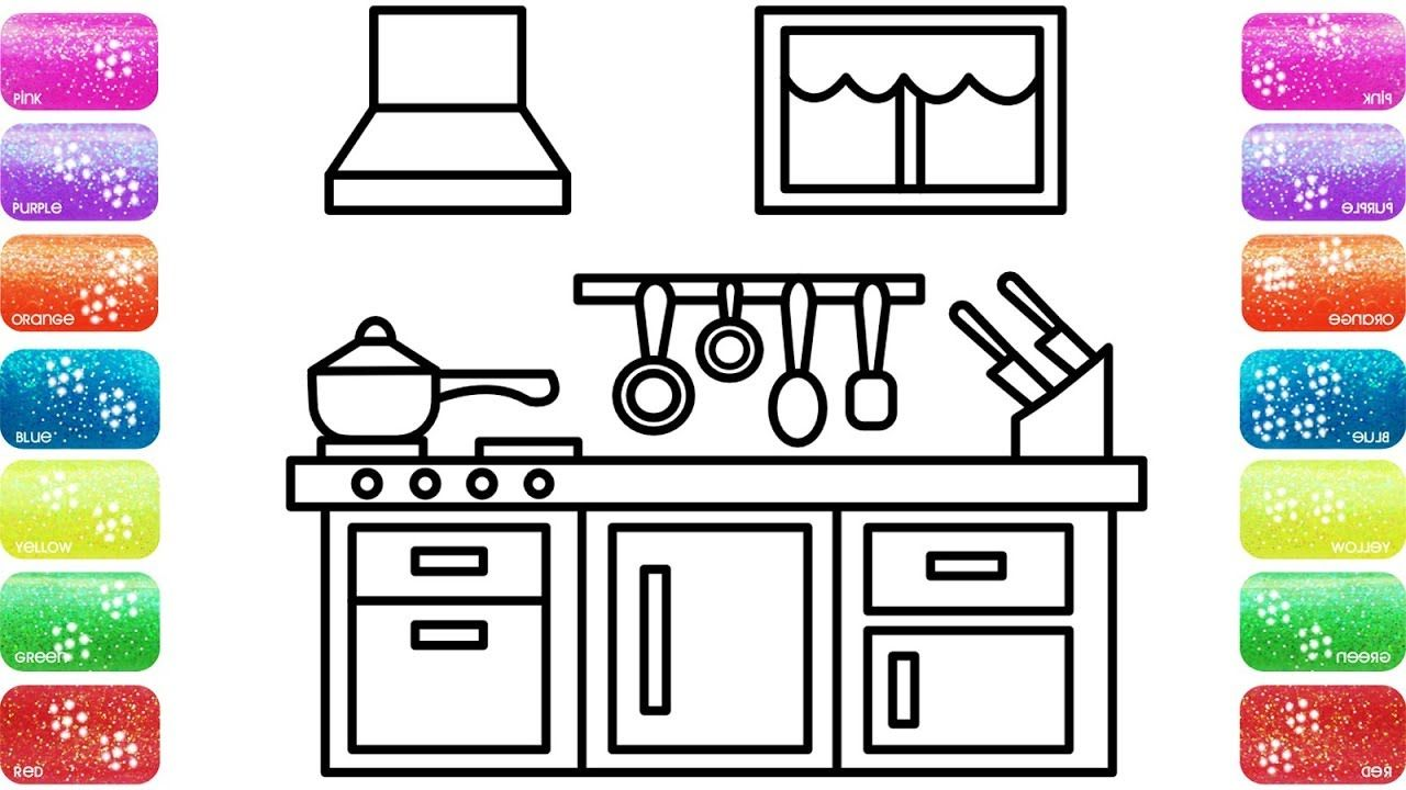 Kitchen Coloring Page For Kids With Glitters Coloring Book For Kids