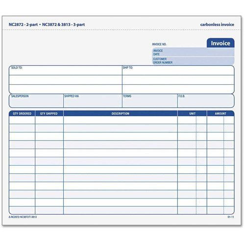 Snap-Off Invoice, 8 1/2 X 7, Three-Part Carbonless, 50 Forms - what is invoice po number