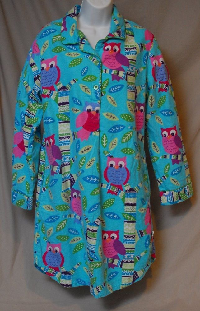 01113a391 Nick   Nora Night Shirt Gown Size Small Owl Tree Turquoise Flannel ...