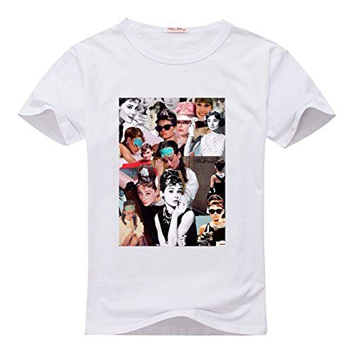 ZHBtshirt Custom Audrey Hepburn Men's T-shrits, DIY Audrey Hepburn 100% Cotton Crew Neck T-Shirt ZHBtshirt
