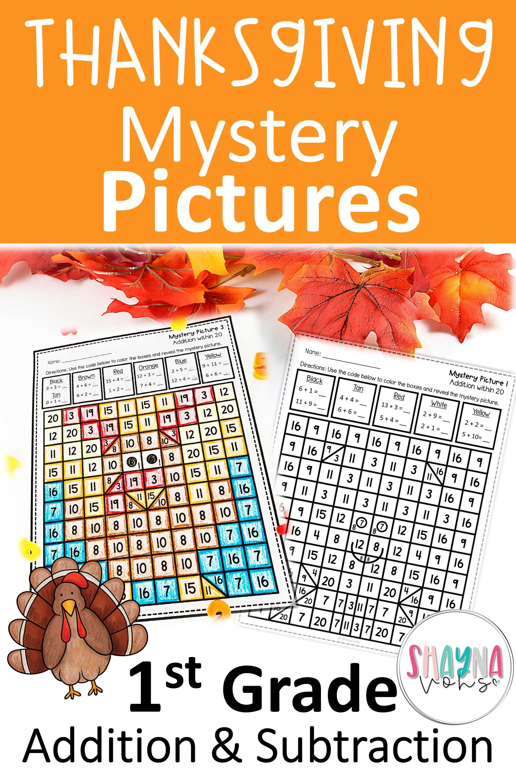 1st Grade Mystery Pictures Addition And Subtraction Thanksgiving Mystery Pictures Addition And Subtraction Thanksgiving Math Activities [ 2700 x 1800 Pixel ]