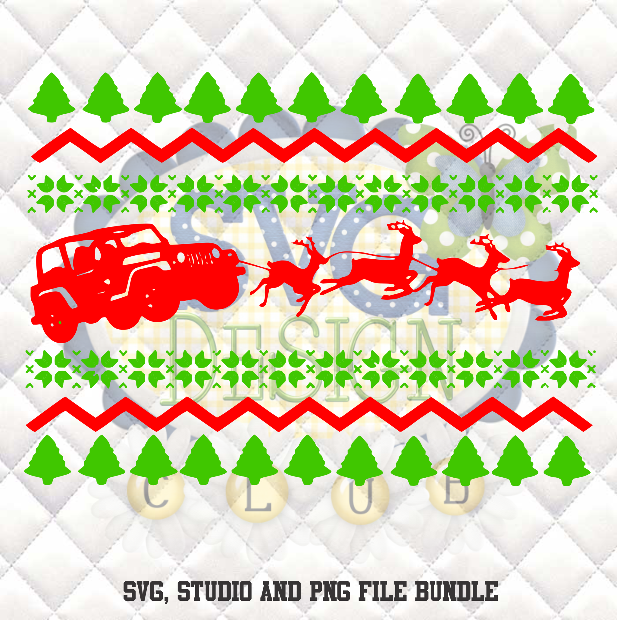Jeep Christmas Sweater Silhouette Studio Bundle  Design