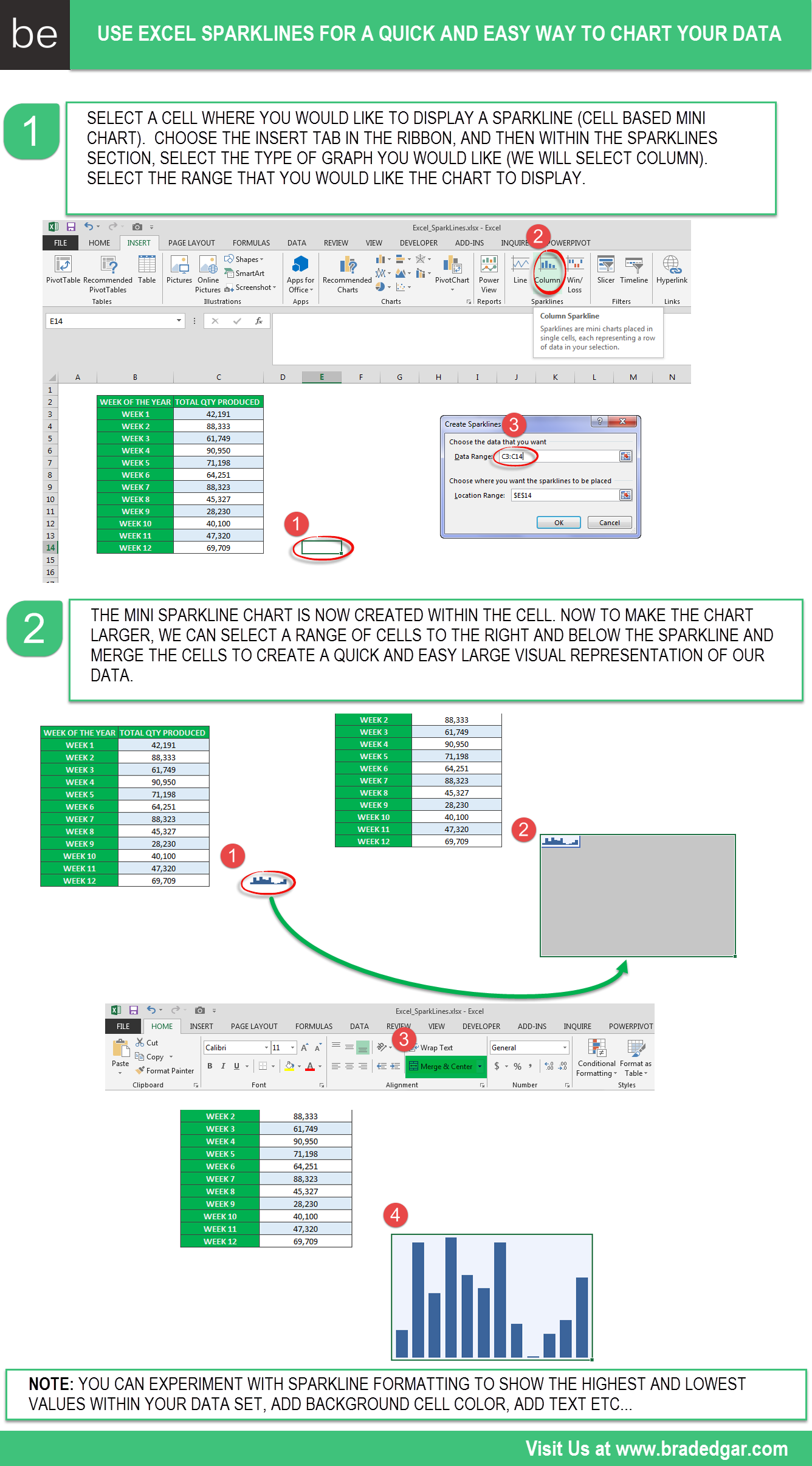 Excel Sparklines Merge Sparkline Cells For Quick And Easy Charts Brad Edgar Excel Excel Spreadsheets Computer Help