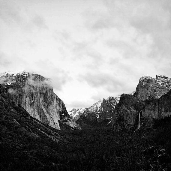 8x8 - Yosemite National Park Photo - Black and White Wall Decor, Snowcapped Mountain Landscape Wall Art, Travel Photography, Woodland