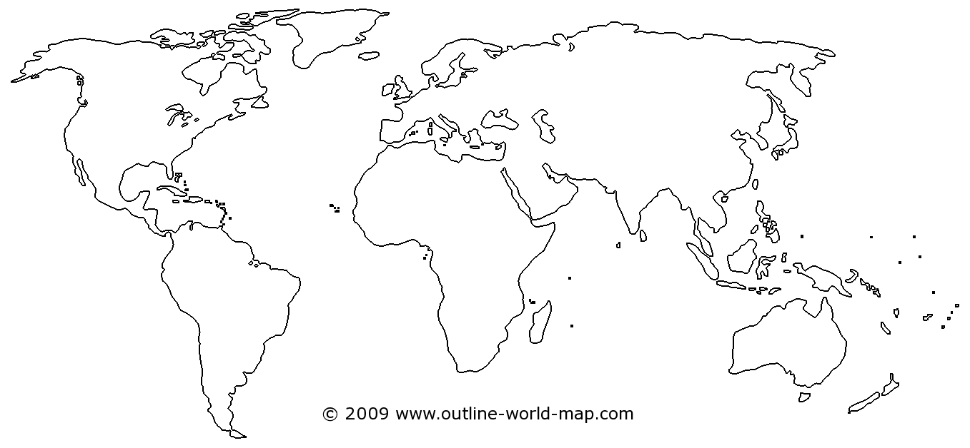 Outline World Map With Medium Borders White Continents And Oceans - World map continents and oceans black and white