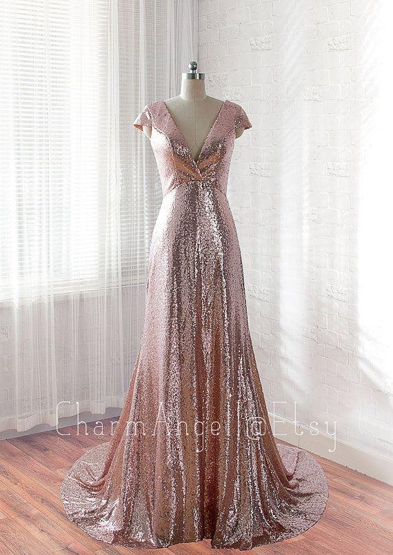 sequins prom dress, long evening dress, formal dress, homecoming ...