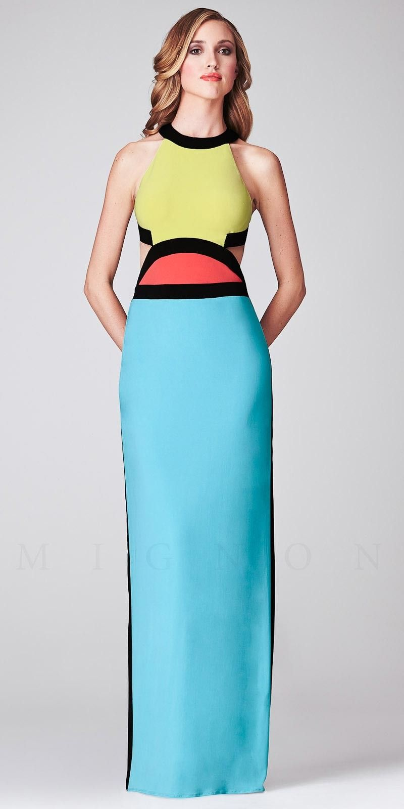 Cleo-Collar Color Block Open Back Evening Dresses by Mignon-image ...