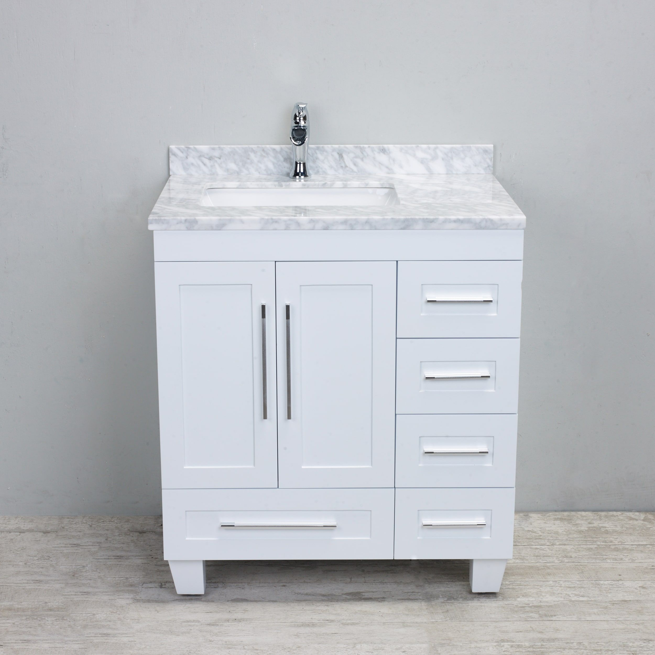 Eviva Loon Transitional White 30 Inch Bathroom Vanity With